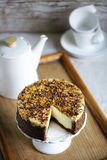 Crem cake with whole grain crust, healthy dessert, gluten-free Stock Image