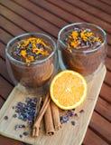 Crema arancio dell'avocado del cioccolato per due Immagine Stock Libera da Diritti