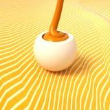 Crema arancio della strega della pralina della cioccolata bianca che riempie sul BAC giallo Immagini Stock Libere da Diritti