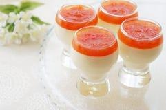 Crema batida de la vainilla con la salsa del pomelo Fotografía de archivo libre de regalías