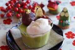 Crema batida del té verde de Matcha Fotografía de archivo libre de regalías