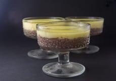 Crema batida, soplo, pudín con vainilla y chocolate en el bla de cristal foto de archivo libre de regalías