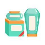 Crema, champú y caja de envases de los trapos, de belleza y de línea de productos de Skincare diseño determinado de la plantilla ilustración del vector