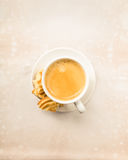 Crema coffee with biscuits Royalty Free Stock Photos
