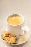 Crema coffee with biscuits Stock Photo