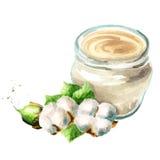 Crema con los extractos del algodón Tarro y una planta Ilustración de la acuarela stock de ilustración