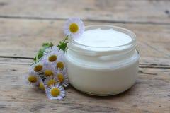 Crema cosmetica con i fiori della camomilla Immagini Stock Libere da Diritti
