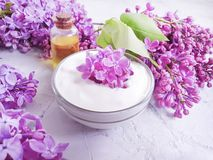 Crema cosmetica, fiore lilla dell'olio dell'estratto di rilassamento di estate su un fondo concreto grigio fotografia stock libera da diritti