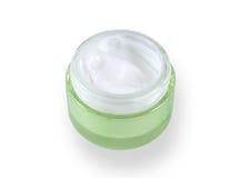 Crema cosmetica in un vaso verde Immagine Stock Libera da Diritti