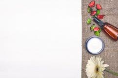 Crema de cara, flor blanca del gerbera Accesorios del baño Spa Terapia del aroma Fotos de archivo libres de regalías