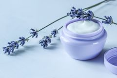 Crema de cara natural orgánica hecha en casa con la lavanda para la salud de la piel imágenes de archivo libres de regalías