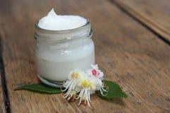 Crema de cara y flor de la castaña Cosméticos foto de archivo libre de regalías