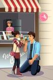Crema de Daughter Eating Ice del padre stock de ilustración