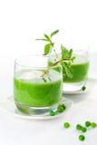 Crema de la sopa de guisante verde Imagen de archivo libre de regalías