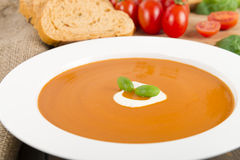Crema de la sopa de tomate imagen de archivo