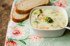 Crema de la sopa del bróculi foto de archivo libre de regalías