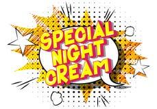 Crema de noche especial - frase ilustrada vector del estilo del c?mic stock de ilustración