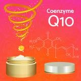Crema de piel con la coenzima Q10 Fórmula química Imagen de archivo libre de regalías