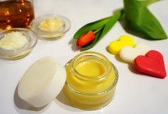 Crema de piel hidratante natural hecha en casa de la miel Imágenes de archivo libres de regalías