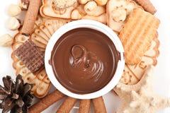 Crema del chocolate con la galleta Foto de archivo libre de regalías
