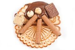 Crema del chocolate con la galleta 2 Fotografía de archivo