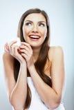 Crema del cosmético del control de la mujer Modelo hermoso de los jóvenes de la cara Imagen de archivo