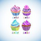 Crema deliciosa de la magdalena dulce del cumpleaños de la torta Foto de archivo libre de regalías