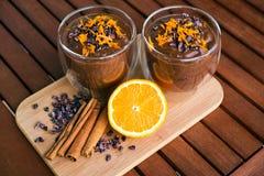 Crema dell'arancia dell'avocado del cacao Fotografie Stock