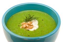 Crema dell'isolato della minestra del broccolo Fotografie Stock Libere da Diritti