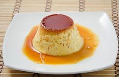 Crema della caramella, pudding della crema, tondello Fotografia Stock