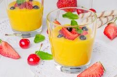 Crema della vaniglia con le bacche fresche immagine stock