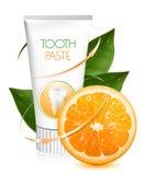 Crema dental anaranjada del sabor. Imagen de archivo libre de regalías