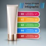 Crema dental, tubo poner crema - negocio infographic Foto de archivo libre de regalías