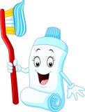 Crema dental y cepillo de dientes divertidos de la historieta Imagen de archivo libre de regalías