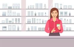 Crema di fronte d'offerta del venditore cosmetico nel negozio di bellezza Fotografia Stock