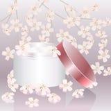 Crema di pelle dentellare con i fiori dentellare royalty illustrazione gratis