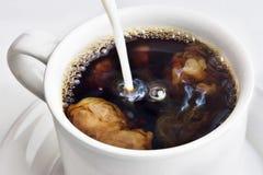 Crema di versamento in un caffè Fotografia Stock