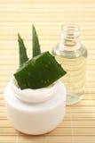 Crema ed olio dell'aloe Fotografia Stock Libera da Diritti