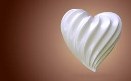 Crema en forma de corazón, en un fondo de la pendiente Imagenes de archivo