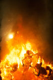 Crema in Fallas Valencia March 19 night all figures are burn Royalty Free Stock Photo