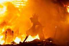 Crema in Fallas Valencia March 19 night all figures are burn Stock Image