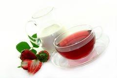 Crema - fresa - te Foto de archivo libre de regalías
