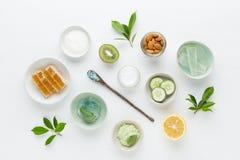 Crema igienica cosmetica di dermatologia di erbe per bellezza e lo skinca Fotografia Stock