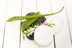 Crema igienica cosmetica di Vera Herbal dell'aloe con i fiori bianchi e rosa con roccia nera su fondo bianco di legno Vista super Immagini Stock