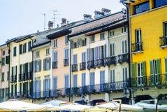 Crema (Italien), gammala hus Arkivfoto