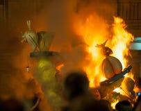 Crema na noite de Fallas Valencia March 19 todas as figuras é queimadura Imagens de Stock Royalty Free