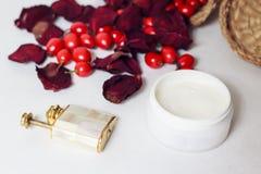 Crema, petali di rosa e cinorrodi Immagine Stock