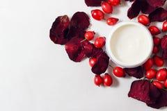 Crema, petali di rosa e cinorrodi Immagini Stock Libere da Diritti