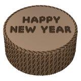 Crema rotonda del cioccolato con il buon anno di parole rappresentazione 3d Immagini Stock