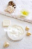 Crema-scrab natural para el cuidado de la cara y de la carrocería Fotografía de archivo
